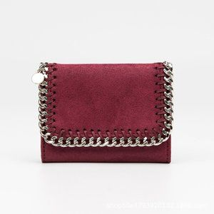 Plush Wallet With Chain Detail, Wine